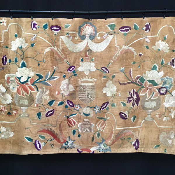 18th Century Silk Indo-Portuguese Embroidered Panel.