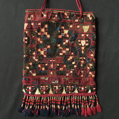 Greek Embroidered Bag with Tassles Attica C19th