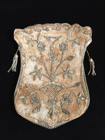 Ottoman Silk Velvet Bag with Silver Metal Thread Embroidery