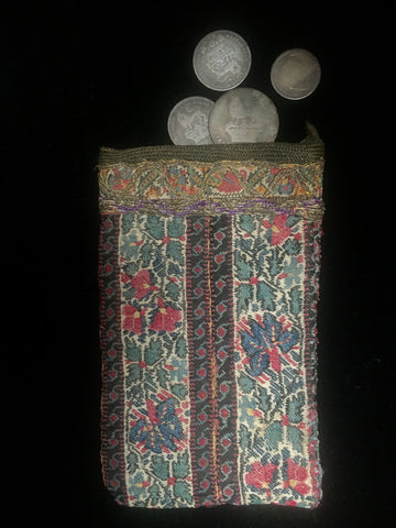 Early 19th century Persian coin purse made from Kashmir shawl