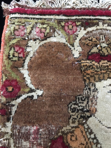 Antique Pictorial Portrait Carpet Fragment 19th century