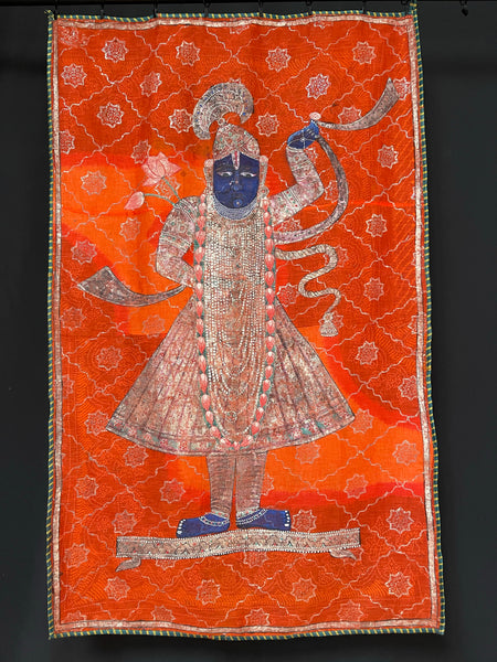 Traditional Nathdurata Shrinathji Painted Textile Wall Hanging C19th