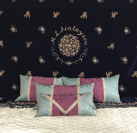 silk velvet antique indian bedcover with gold embroiderd name, butterfies, birds and fish C19th