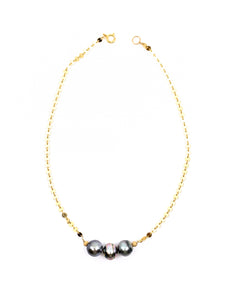 3 tahitian pearls gold chain necklace by eve black jewelry made in hawaii