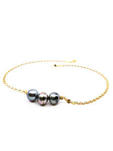 3 Tahitian pearl disc gold chain necklace by eve black jewelry made in Hawaii