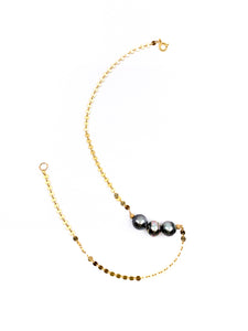 3 tahitian pearl disc chain necklace by eve black jewelry made in Hawaii