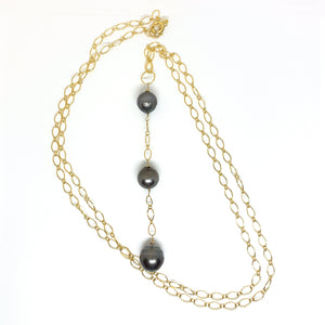 3 Tahitian pearls long 14 karat gold fill necklace eve black jewelry hawaii