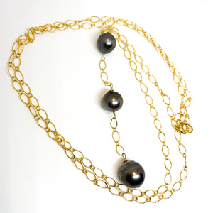 3 Tahitian Pearl long 14 karat gold fill necklace eve black jewelry hawaii