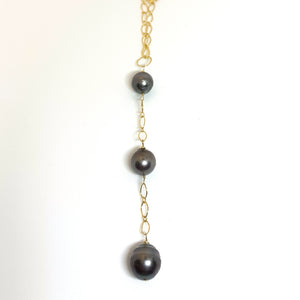 3 Tahitian pearl long 14karat gold fill necklace eve black jewelry hawaii