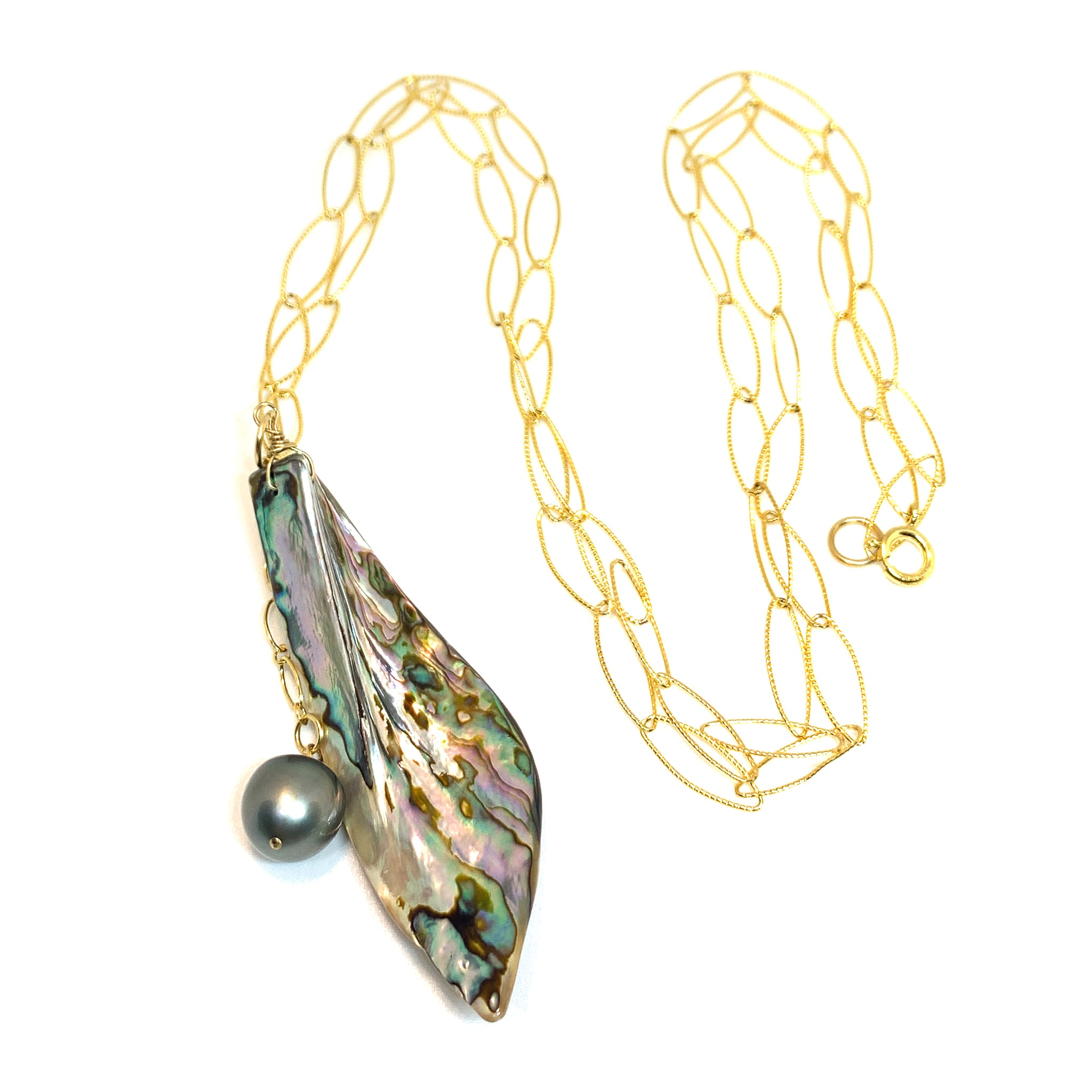 Tahitian Pearl Abalone Shell long necklace 14 karat gold fill eve black jewelry Hawaii