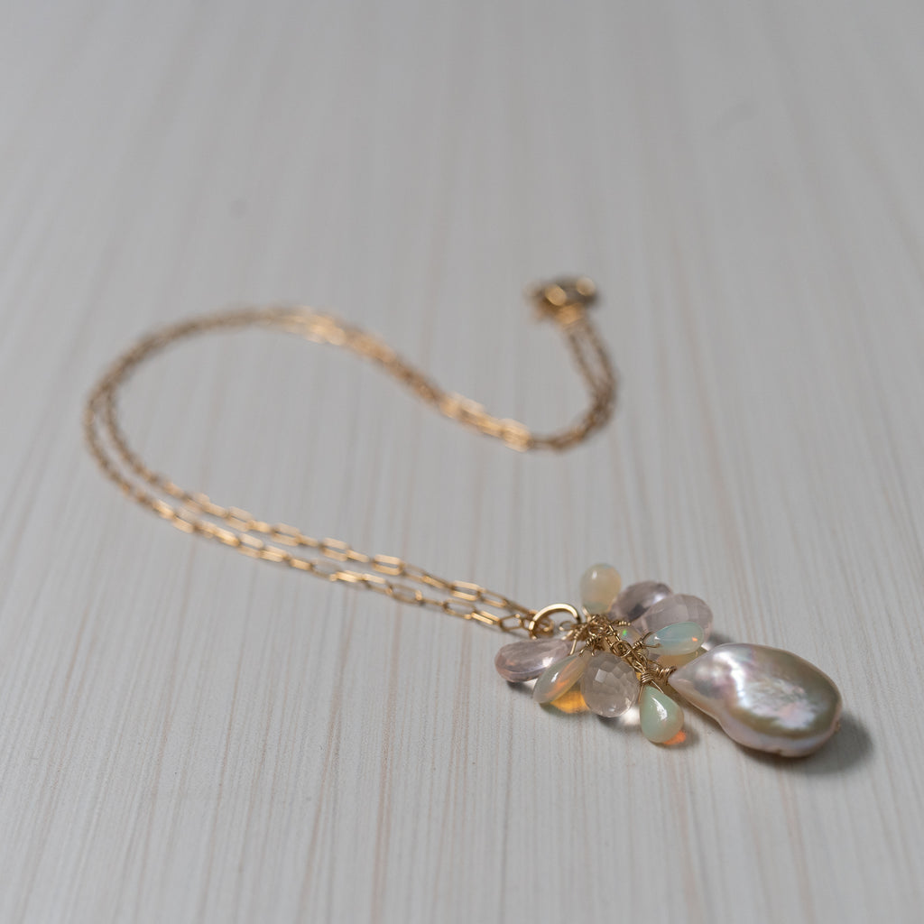 Baroque pink Pearl with Opals necklace , handmade in Hawaii by Eve Black