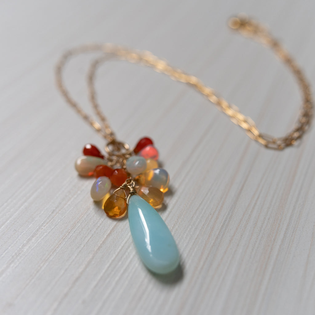 peruvian & fire opal necklace by eve black handmade in hawaii