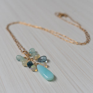 peruvian opal, ethiopian opal , london topaz necklace , handmade in hawaii, by eve black