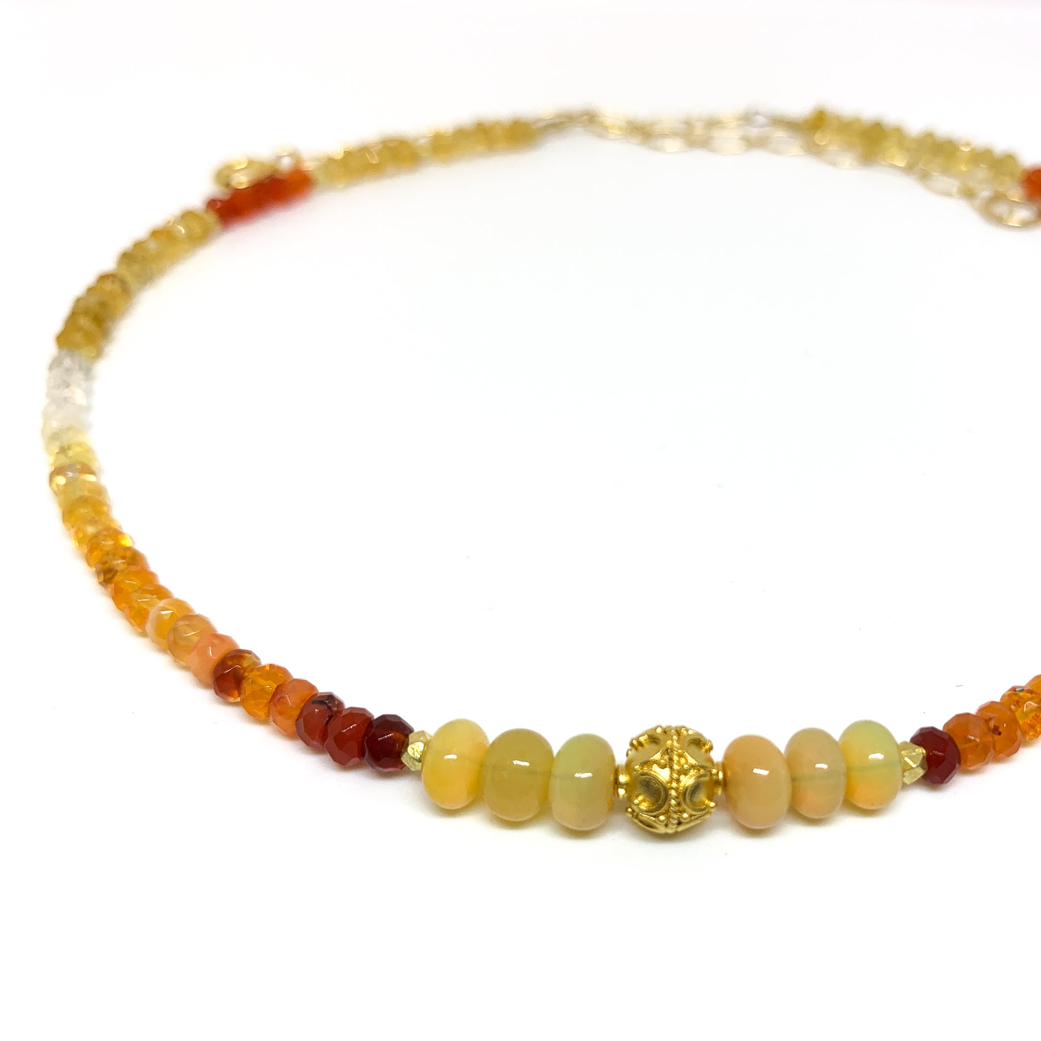 Fire opal necklace with vermeil bead on short 14 karat gold fill necklace eve black jewelry Hawaii