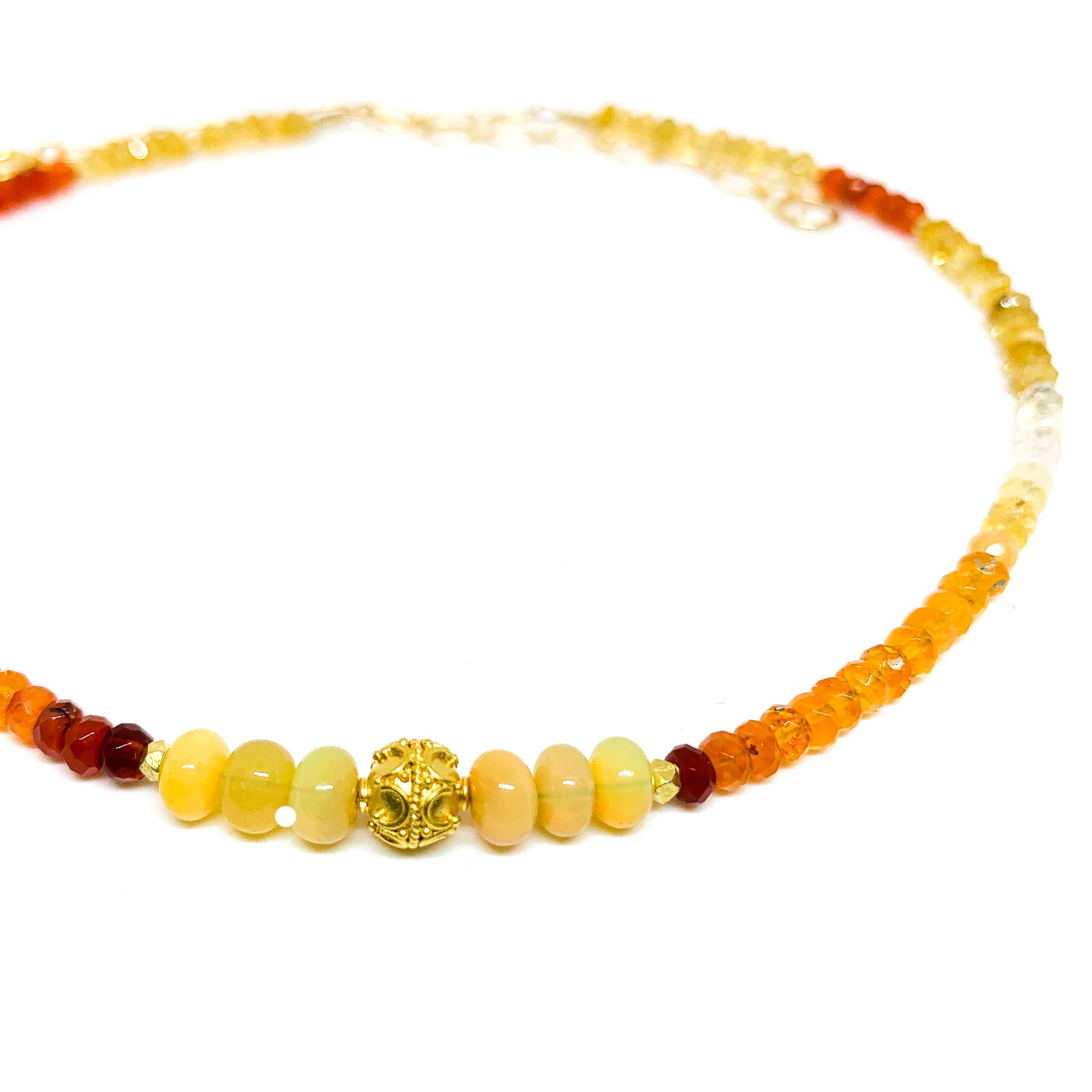 Fire Opal necklace with vermeil bead on short 14 karat golf fill necklace eve black jewelry Hawaii
