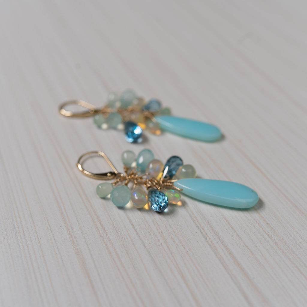 peruvian opal & blue gems 14k gold earrings, handmade in Hawaii , by eve black jewelry