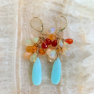 peruvian opal with fire opal 14k gold earrings, handmade in hawaii, by eve black jewelry