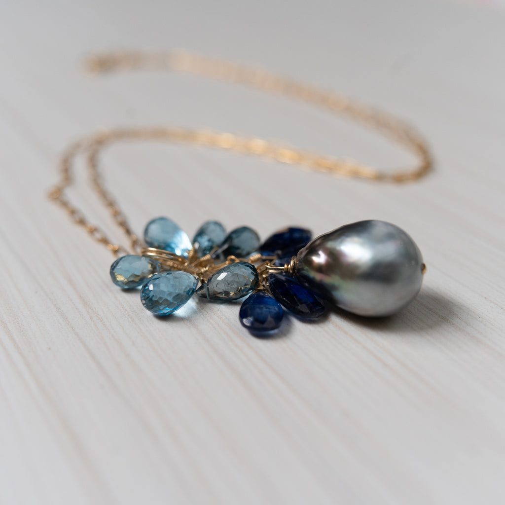 tahitian pearl blue gemstones kyanite london topaz necklace, handmade in hawaii, by eve black jewelry