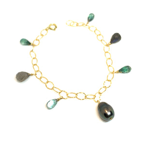 Tahitian pearl green gemstones bracelet by eve black jewelry handmade in Hawaii