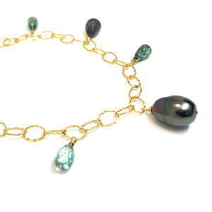 Tahitian pearl green gemstone bracelet by eve black jewelry handmade in Hawaii