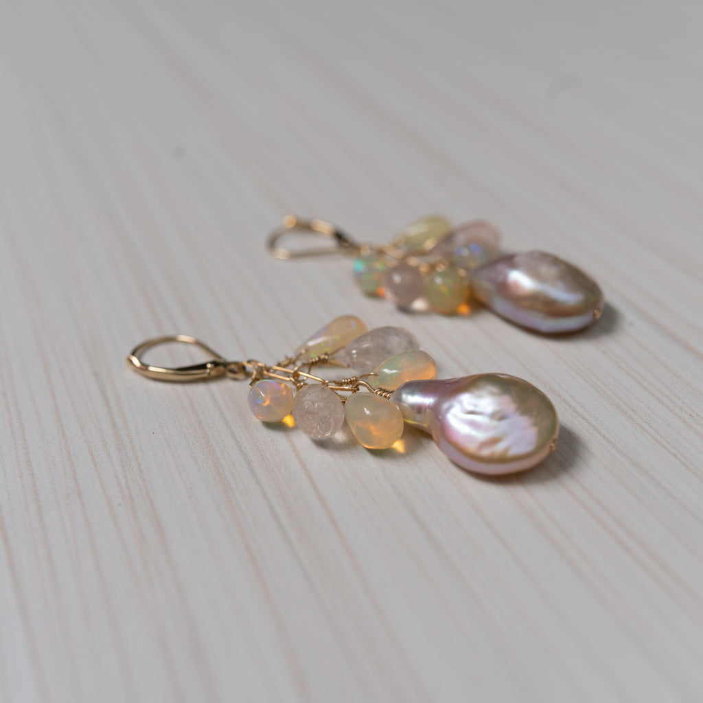 baroque pink pearls and opals 14k gold earrings, handmade in Hawaii , by eve black jewelry