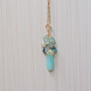 peruvian opal, ethiopian opal , london topaz necklace , handmade in hawaii, by eve black jewelry