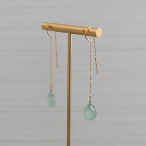 threader earrings with blue gemstones made in hawaii by eve black jewelry
