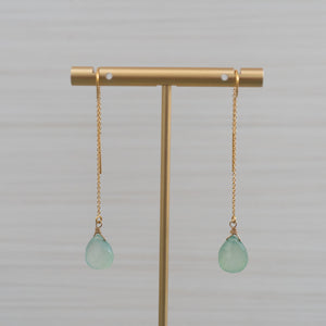 threader earrings with blue gemstones made in hawaii by eve black jewelry  Edit alt text