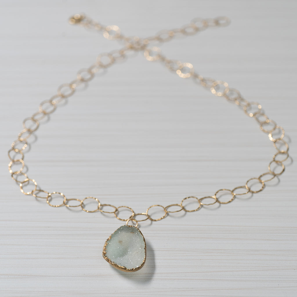 Blue druzy on gold chain necklace handmade in Hawaii by eve black jewelry