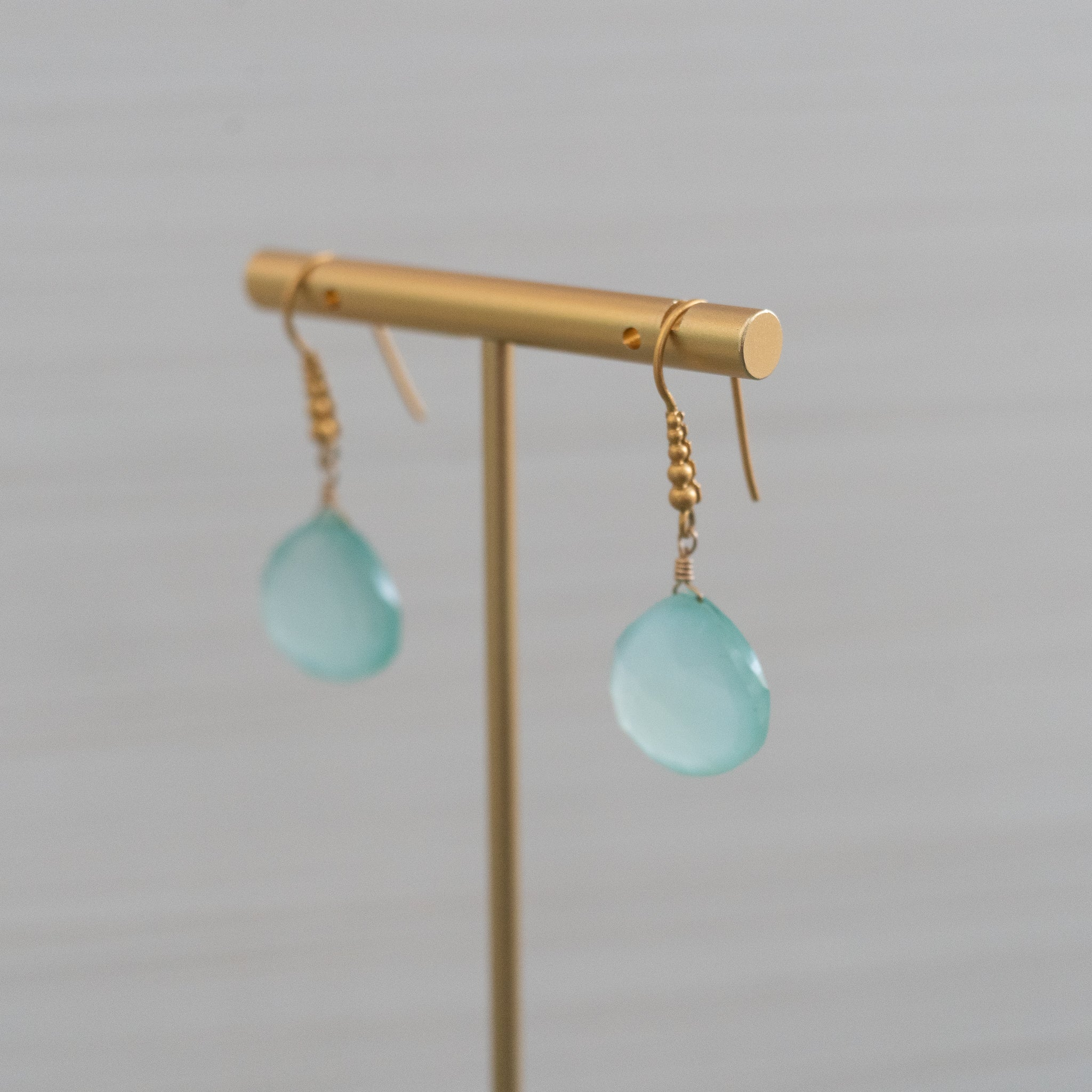 blue gemstone granulated gold earrings