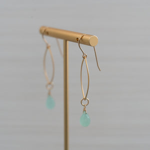 blue gemstone medium marquise shape gold earrings