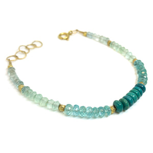 bracelet blue gemstones chalcedony apatite turquoise 14 karat gold fill by eve black jewelry, Hawaii