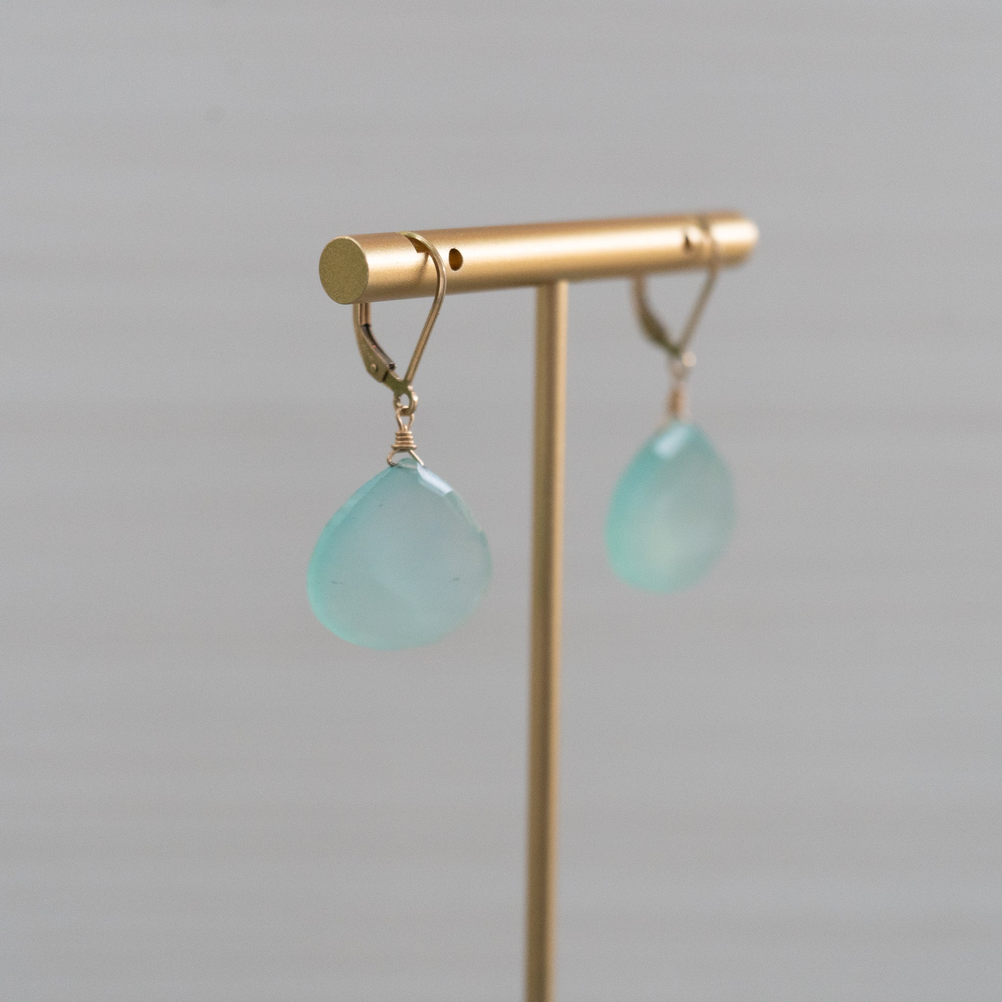 blue gemstone safety clasp gold earrings