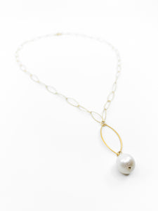 white pearl marquee gold chain necklace by eve black jewelry made in Hawaii