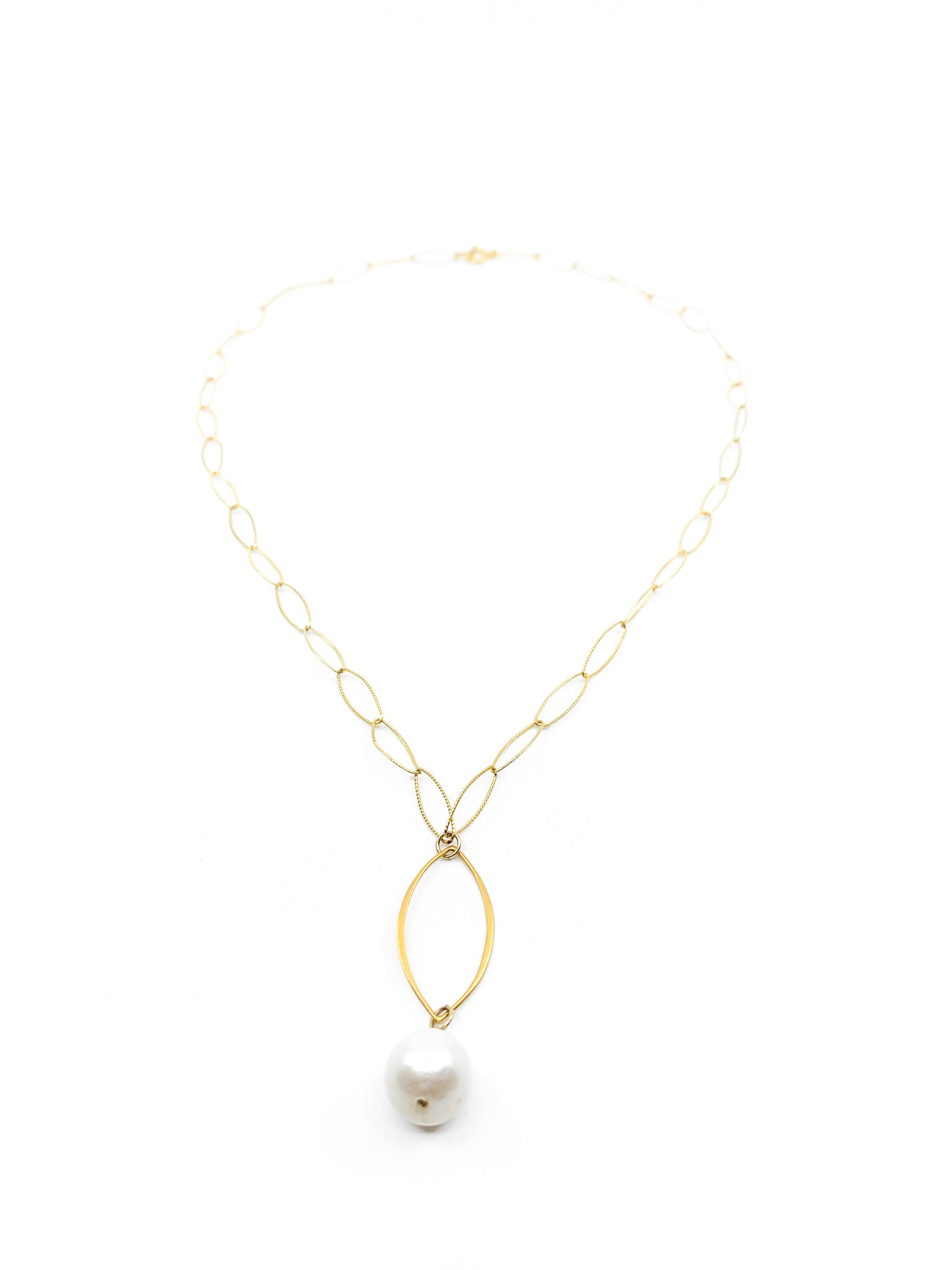 white pearl gold marquee chain necklace by eve black jewelry made in Hawaii