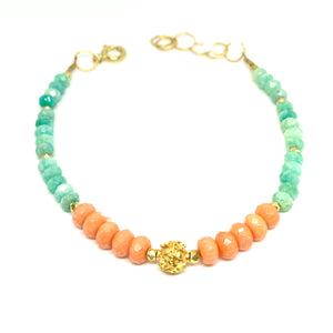 bracelet with facetted coral and amazonite with 14 karat gold fill and vermeil bead, by eve black jewelry, Hawaii