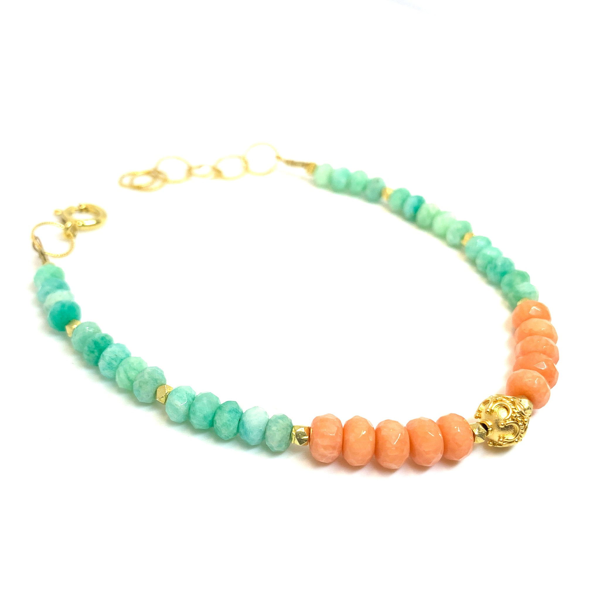 bracelet with facetted coral and amazonite , with 14 karat gold fill and vermeil bead, by eve black jewelry, Hawaii