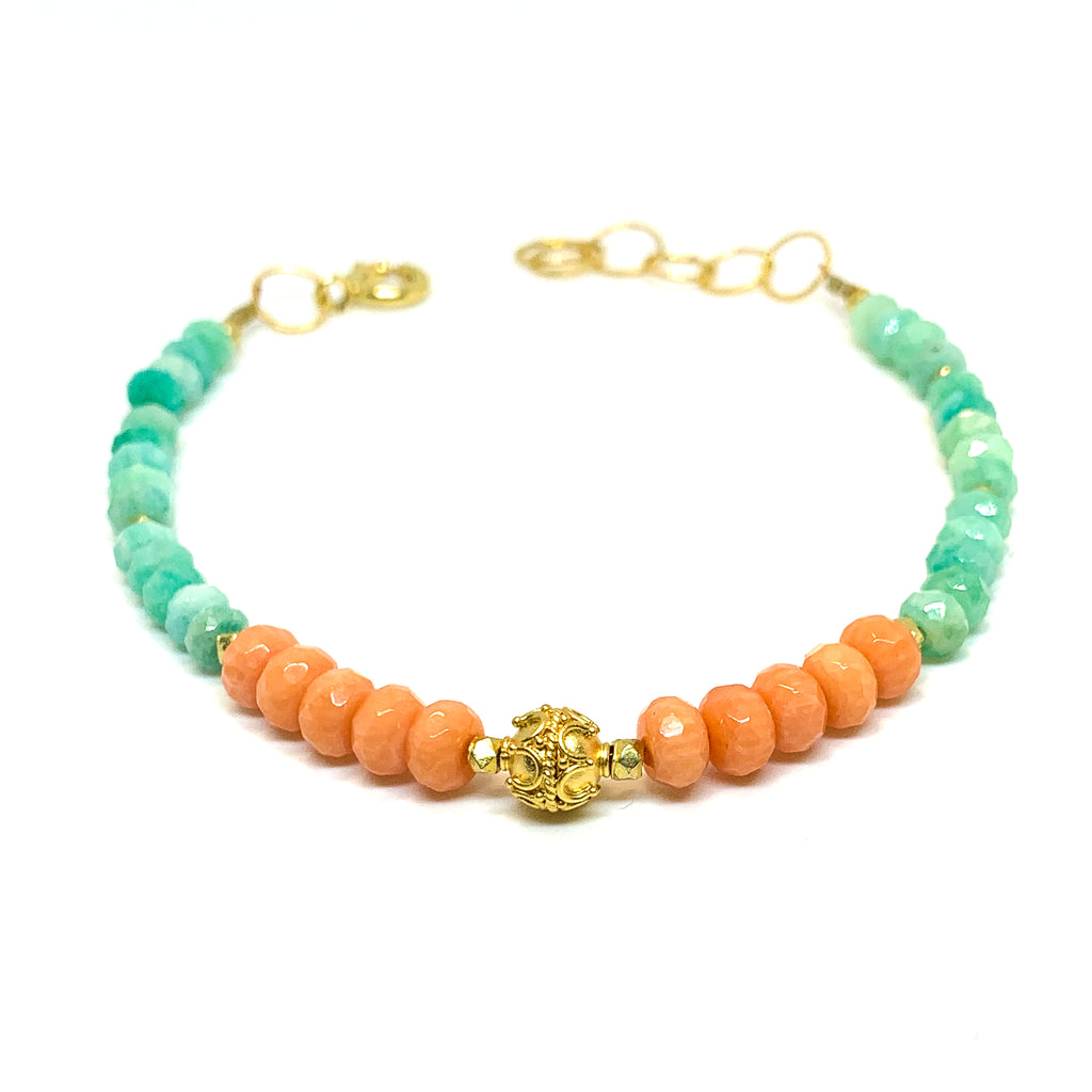 bracelet with facetted coral and amazonite , 14 karat gold fill and vermeil bead by eve black jewelry , Hawaii