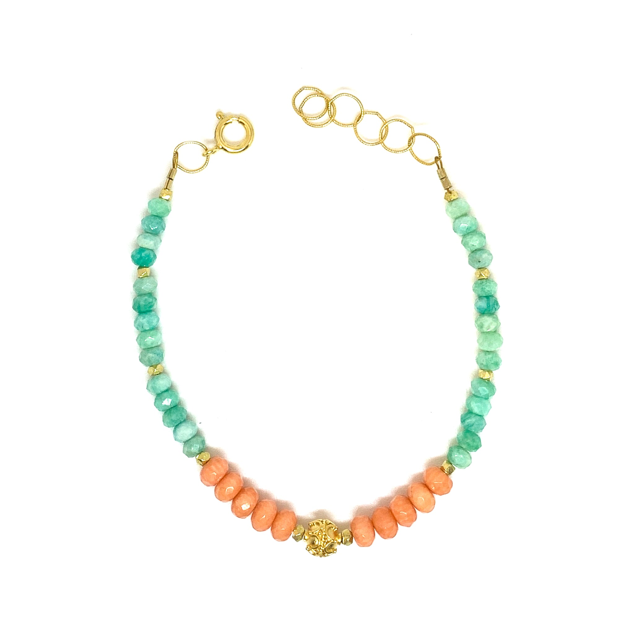 bracelet with facetted coral and amazonite, 14 karat gold fill with vermeil bead, by eve black jewelry , Hawaii