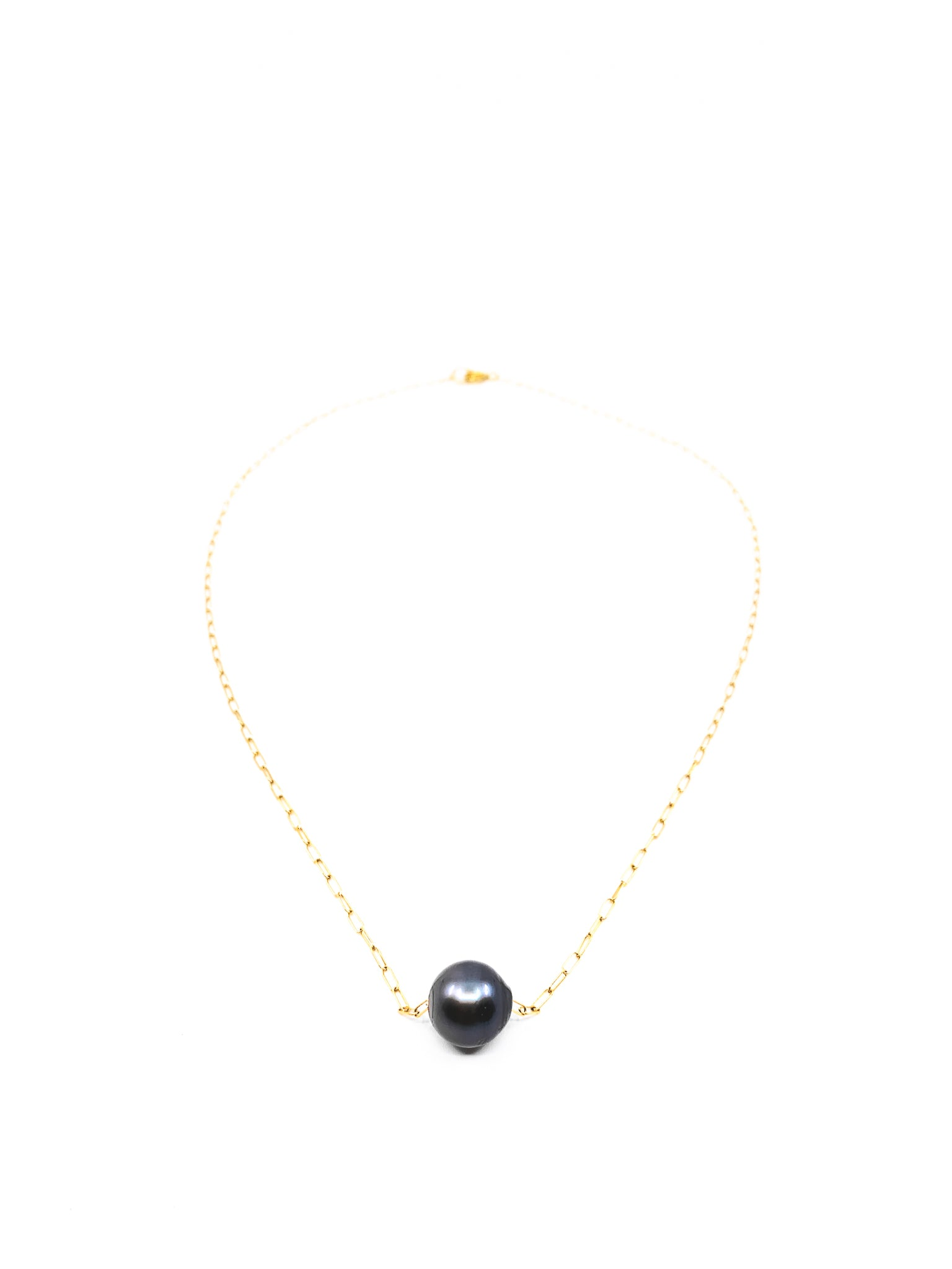 floating tahitian pearl gold chain necklace by eve black jewelry made in hawaii