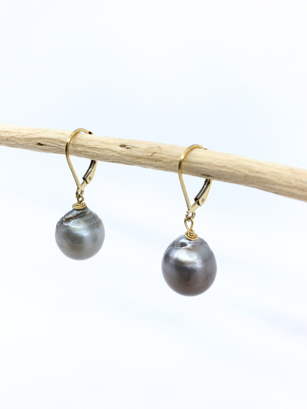 large tahitian pearl earrings with safety ear wires by eve black jewelry made in Hawaii
