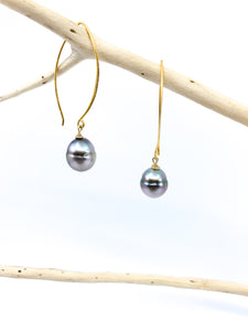 Tahitian pearl lonk hook mat gold earrings by eve black jewelry made in  Hawaii