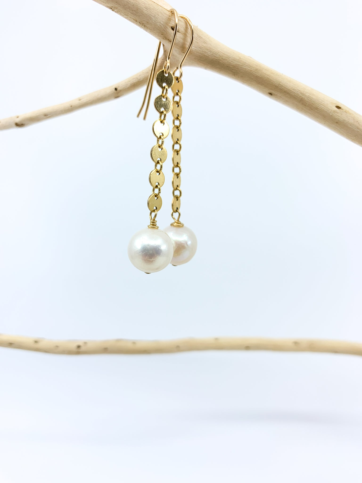 white pearls with gold fill chain earrings by eve black jewelry made in Hawaii