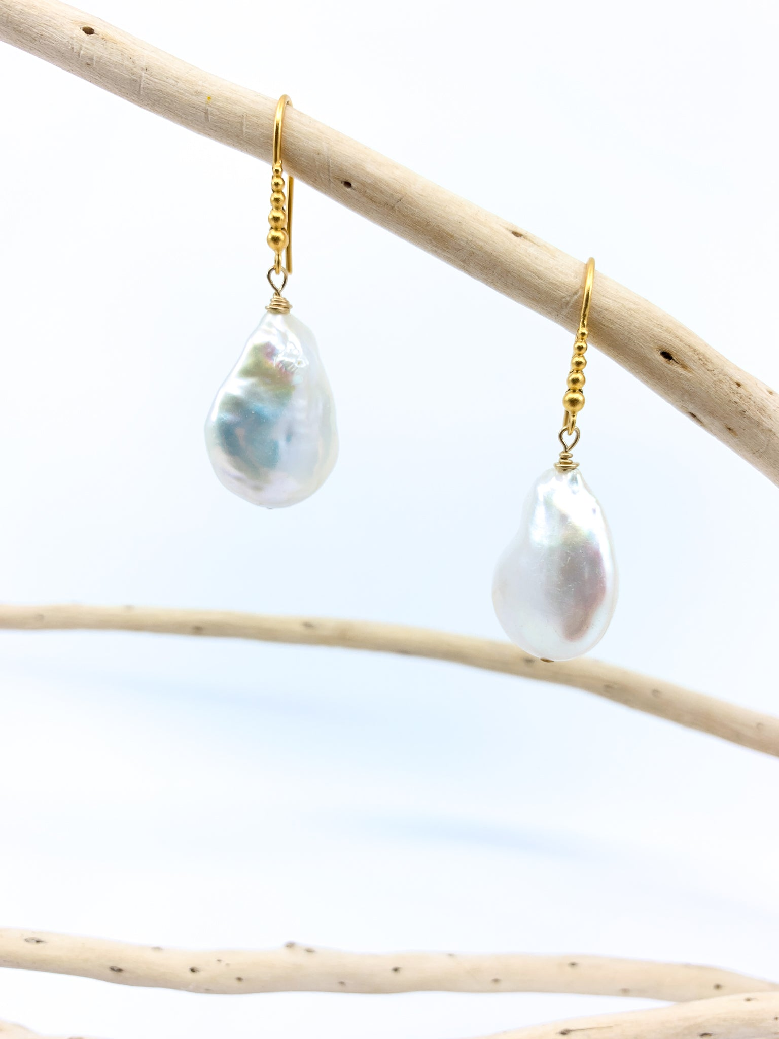 Granulated White Baroque Pearl Earrings