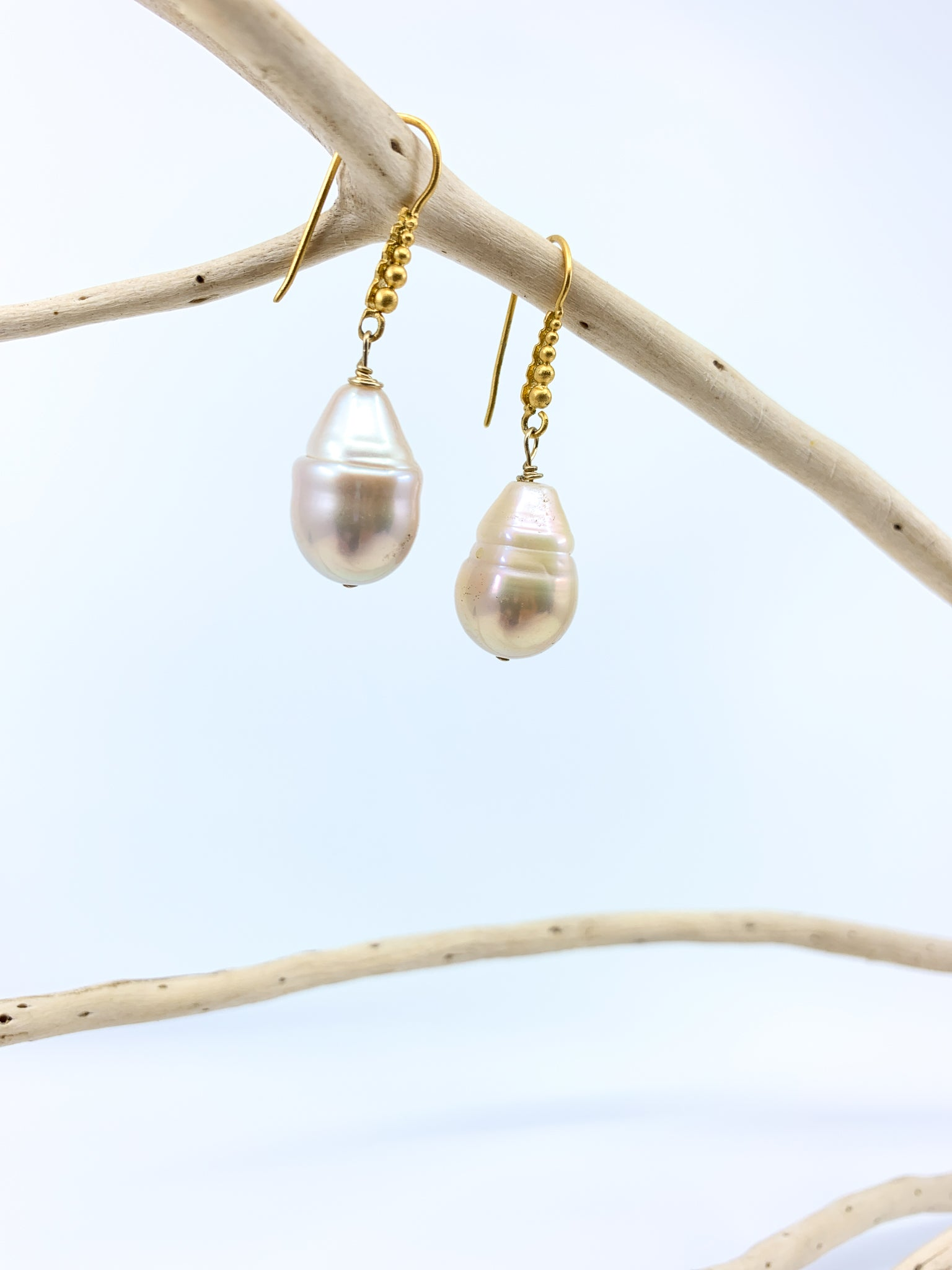 baroque natural color freshwater pearl granulated mat gold earrings by eve black jewelry Hawaii