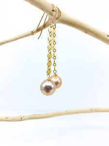 natural rose gold pearls 14 karat gold fill chain earrings by eve black jewelry made in hawaii