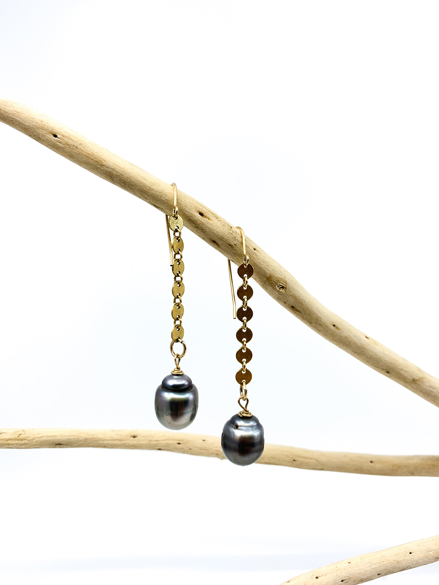 Tahitian pearl earrings with 14 karat gold fill chain by eve black jewelry made in Hawaii