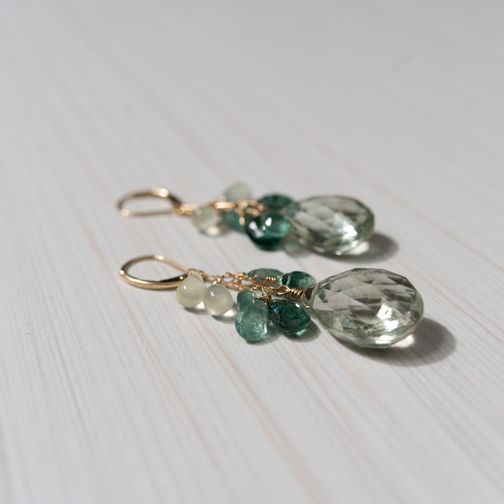 14K gold earrings with green gemstones, tourmaline and apatite, handmade in Hawaii , by eve black jewelry