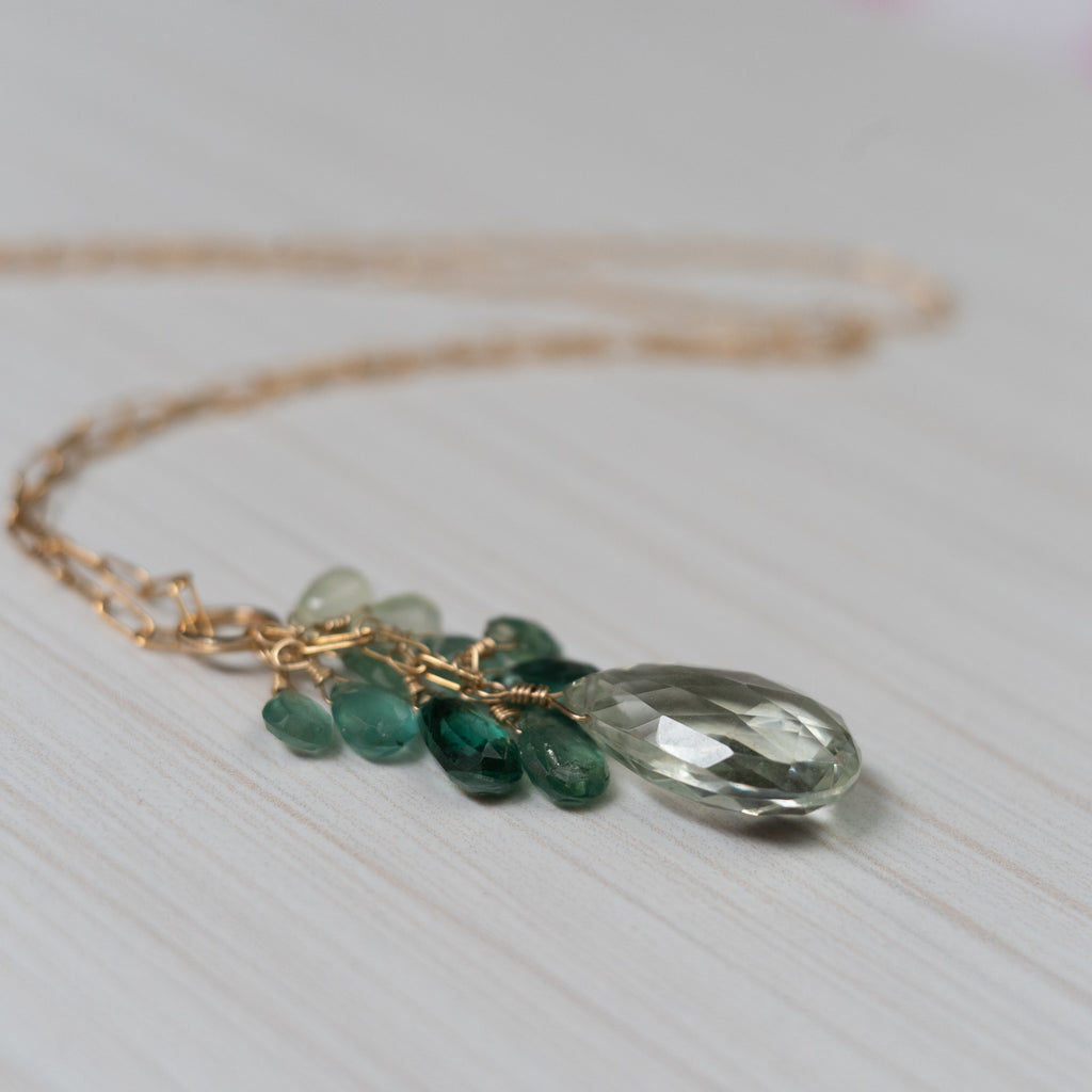 green gemstones necklace with tourmaline, apatite , amethyst , handmade in hawaii, by eve black jewelry