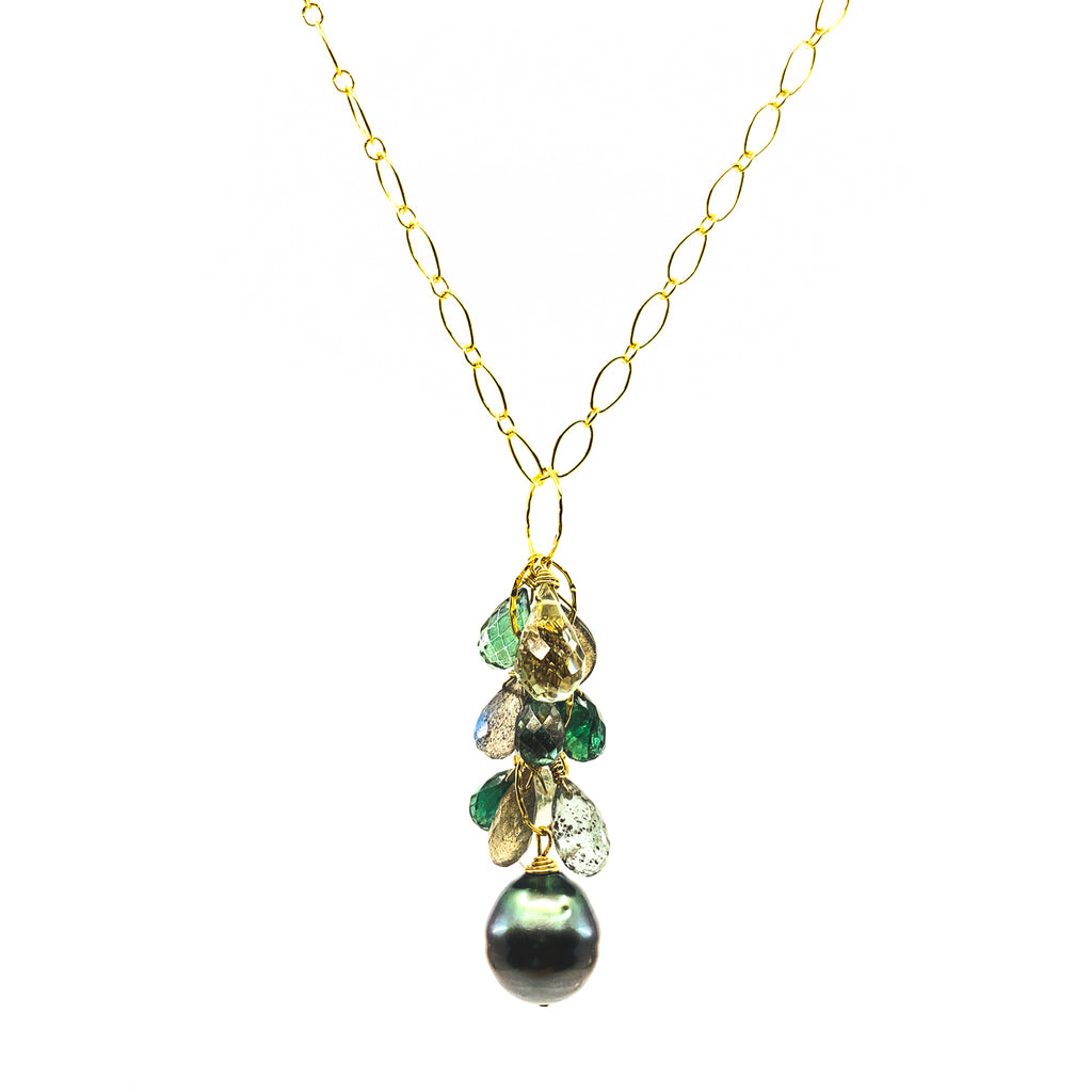 tahitian pearl green gemstones necklace by eve black jewelry made in Hawaii